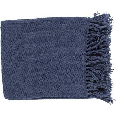 Polaris Cotton Throw Blanket - Navy - Wayfair