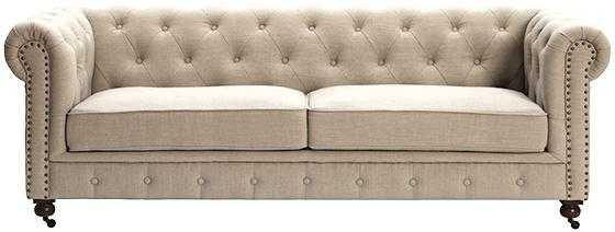 Gordon Tufted Sofa - Natural Linen - Home Depot