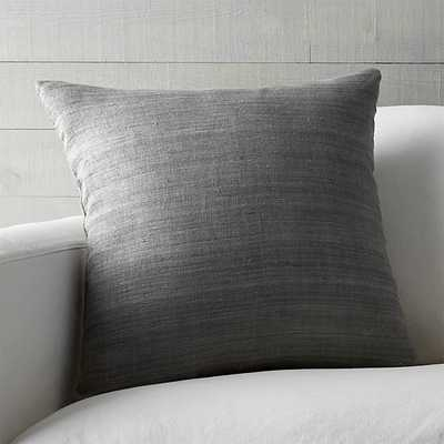 """Michaela Smoke Grey 20"""" Pillow with Feather-Down Insert - Crate and Barrel"""