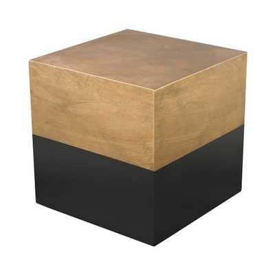 Black And Gold Draper Cube Table - Burke Decor