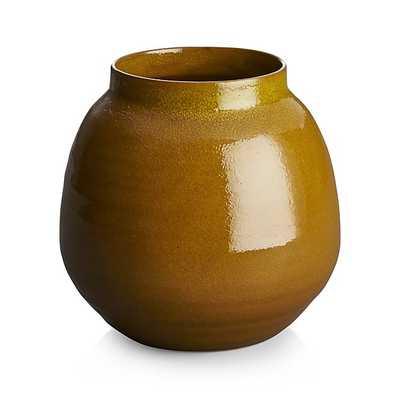 Ansley Medium Olive Green Ceramic Vase - Crate and Barrel