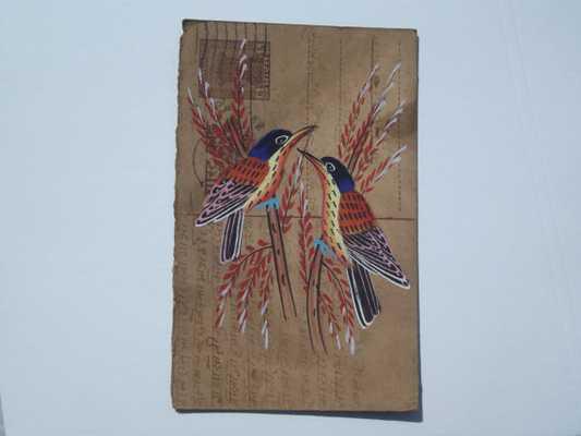 Indian postcard of two birds ,art - 14 cm H x 9 cm W - Unframed - Etsy