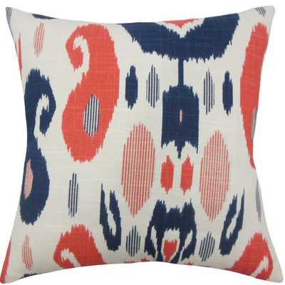 Xena Ikat Pillow - 18x18- Down Insert - Linen & Seam