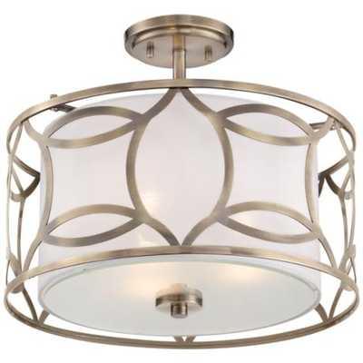 Roxbury Wide Antique Brass Ceiling Light - Lamps Plus