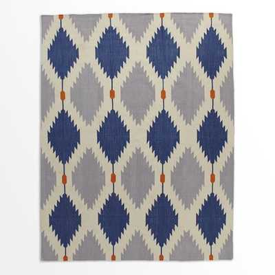 Phoenix Wool Dhurrie Rug - Regal Blue - 8' x 10' - West Elm