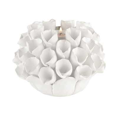 White Ceramic Bud Candle Holder - Rosen Studio