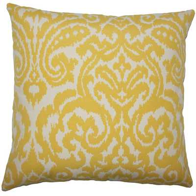 "Wafai Ikat Pillow Pollen- 18"" x 18""-   high-fiber polyester pillow insert - Linen & Seam"