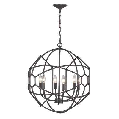 6 LIGHT RUSTIC IRON ORB CHANDELIER WITH HONEYCOMB METAL WORK - Rosen Studio