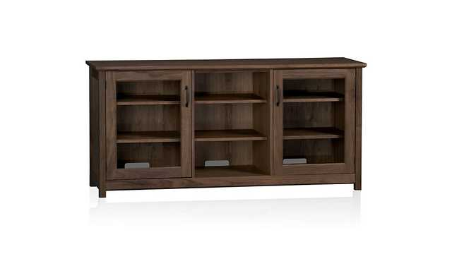 "Ainsworth Walnut 64"" Media Console with Glass/Wood Doors - Crate and Barrel"