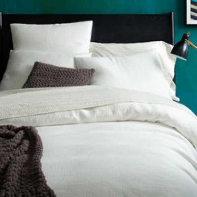 Organic Brighton Matelasse Duvet Cover - Full/Queen - Stone White - West Elm