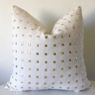 """Studs Pillow Cover - Natural- 12"""" x 19""""- Without insert - Willa Skye"""