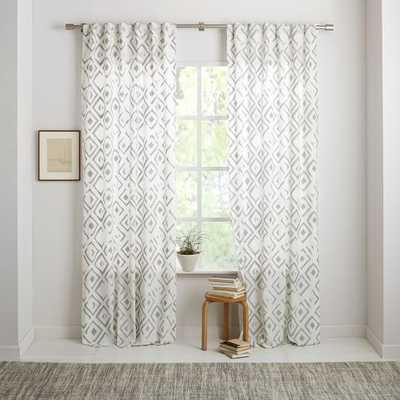 "Fading Diamond Jacquard Curtain - 108"" - West Elm"