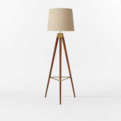 Mid-Century Wood Tripod Floor Lamp - Walnut - West Elm