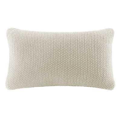 Bree Knit Lumbar Pillow Cover - Ivory - Wayfair