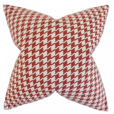 "Presley Houndstooth Pillow Red - 18"" x 18"" - Down insert - Linen & Seam"