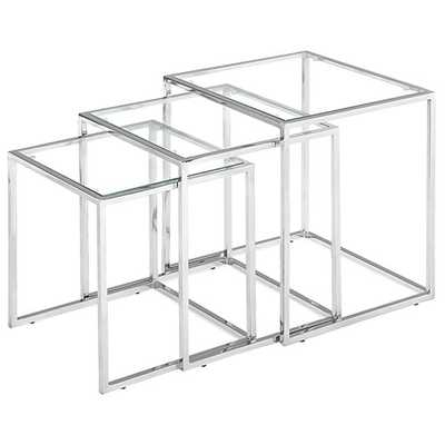 Pasos Nesting Table Clear Glass - Zuri Studios