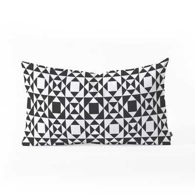 "RHYTHM BLACK Oblong Throw Pillow - 23"" x 14"" - Polyester Insert - Wander Print Co."