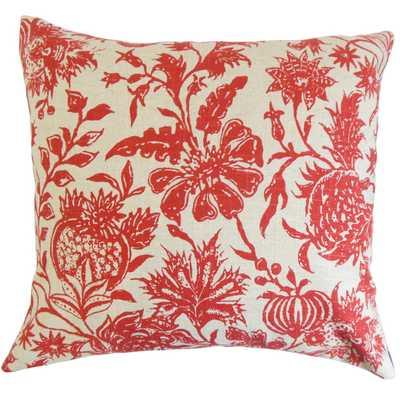 "Bionda Floral Pillow  - 18"" x 18"" - Polyester - Linen & Seam"