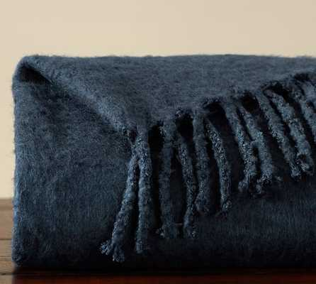 Faux Solid Mohair Throw - Sailor Blue - Pottery Barn