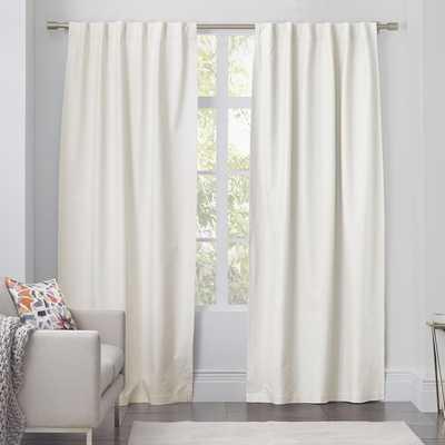"""Linen Cotton Curtain - Ivory-63"""" - Unlined - West Elm"""