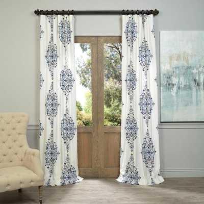 EFF Kerala Blue Printed Cotton Twill Curtain Panel - 96'' - blue - Overstock