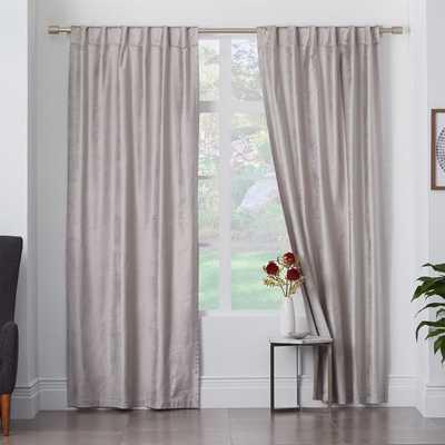 """Cotton Luster Velvet Curtain + Blackout Panel, 48""""x96"""", Platinum - West Elm"""