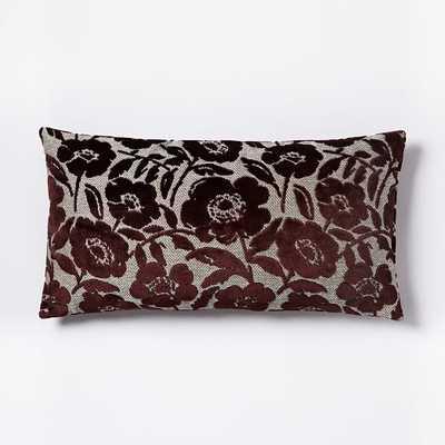 """Jacquard Velvet Flower Heads Pillow Cover - Burgundy - 14""""w x 26""""l - Insert Sold Separately - West Elm"""