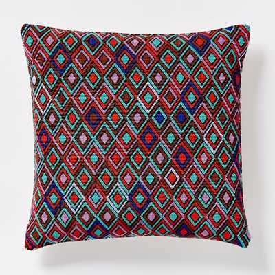 """Beaded Inset Diamond Pillow Cover - 16"""" sq - Insert Sold Separately - West Elm"""