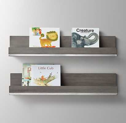METAL-TRIMMED WOOD BOOK DISPLAY SHELF - RH Baby & Child