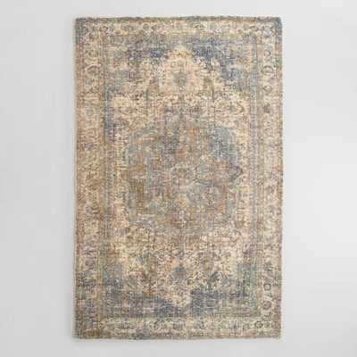 5'x8' Blue Gray Print Tufted Nylon Veronica Area Rug - World Market/Cost Plus