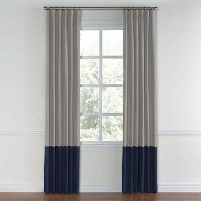 """Heathered gray canvas color block curtain - Cotton Lining, 96""""L - Loom Decor"""