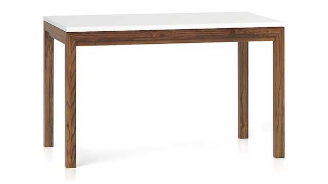 White Top/ Elm Base 48x28 Dining Table - Crate and Barrel