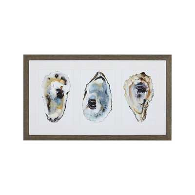 """Oyster Shimmer Print-40""""x22""""-Framed(Grey wash finish)- with mat - Crate and Barrel"""