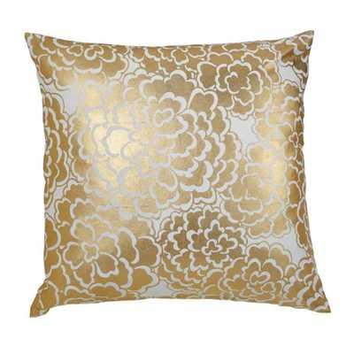 """Gold Fleur Pillow - 20"""" x 20"""" - No Insert - Caitlin Wilson"""