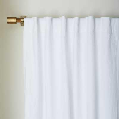 "Belgian Flax Linen Curtain - White - Blackout Lining - 96""L - West Elm"