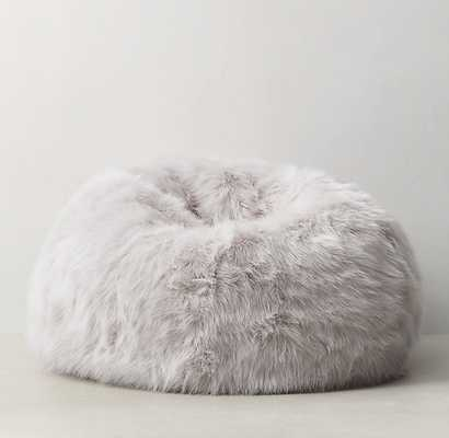 Kashmir Faux Fur Bean Bag - Grey - RH Teen