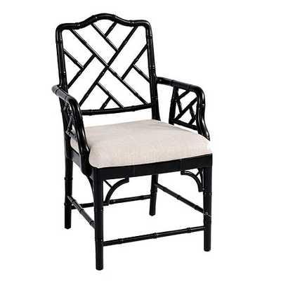 Dayna Arm Chair - Worn Black - Ballard Designs
