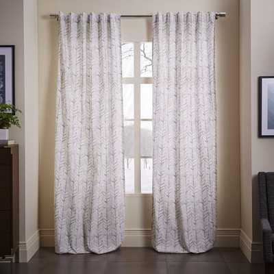 """Cotton Canvas Vine Leaves Curtain - Frost Gray - 84""""L - West Elm"""