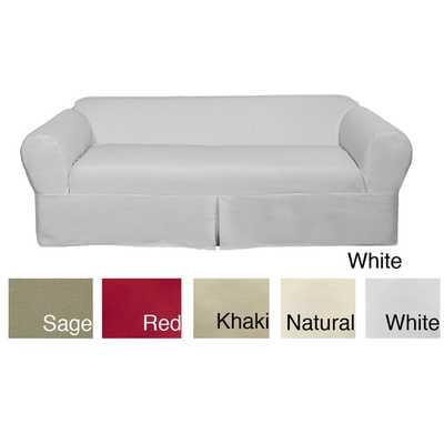 Classic Two-piece Twill Sofa Slipcover - Overstock