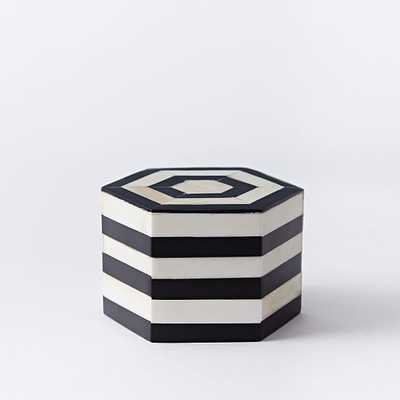 Black + White Striped Boxes -  Small - West Elm