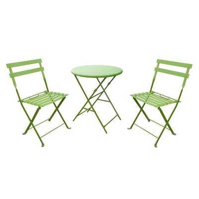 3-Piece Folding Metal Patio Bistro Furniture Set - Green - Target
