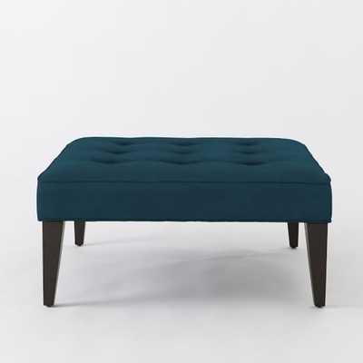 Upholstered Tufted Ottoman - Performance velvet, lagoon - West Elm