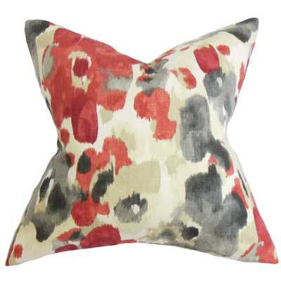 Delyne Floral Pillow Red - 18x18 With insert - Linen & Seam