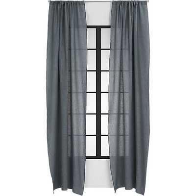 "Graphite linen curtain panel - 48"" x 108"" - CB2"