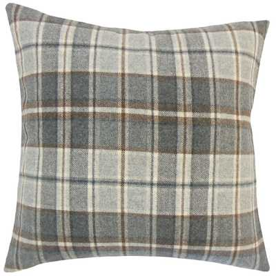 "Irfan Plaid Pillow Grey - 18"" x 18"" - Down Insert - Linen & Seam"