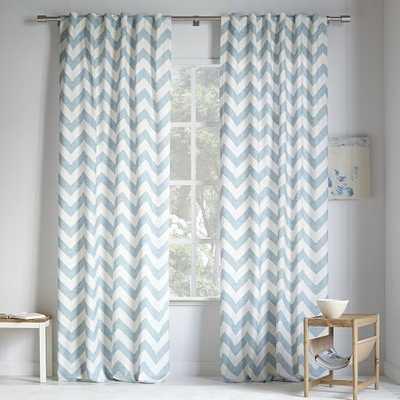 "Cotton Canvas Zigzag Printed Curtain - Light Pool - 108"" - West Elm"