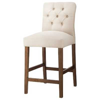 Brookline Tufted Counter Stool Hardwood - Oyster - Target