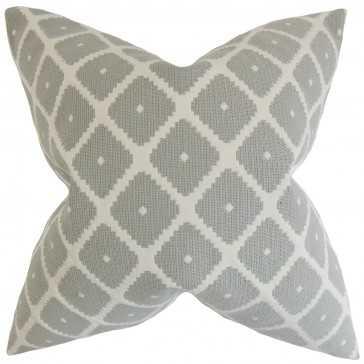 "Fallon Geometric Pillow Dove - 18"" x 18"" with Down Insert - Linen & Seam"
