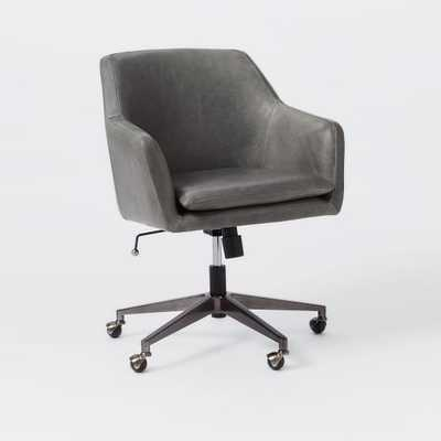 Helvetica Leather Office Chair- Blue Stone - West Elm