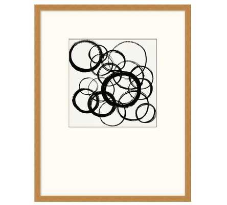 """Black Circles With Oversized Mat, Framed Print, 19 x 24"""" - Pottery Barn"""